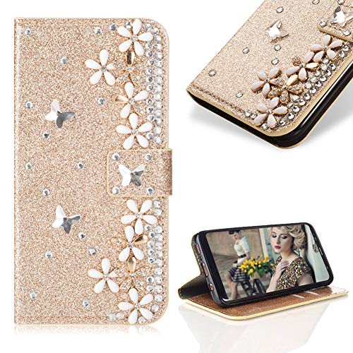 (Case for Galaxy A8 2018,Cistor Luxury 3D Handmade Diamond Crystal Pearl Glitter Flower Butterfly Wallet Case for Samsung Galaxy A8 2018,PU Leather Stand Flip Case with Card Slot Magnetic Closure,Gold )