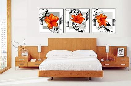 Yozhohoo Orange Flower Wall Art Black And White Modern Canvas Prints  Artwork 3 Panels Floral Oil
