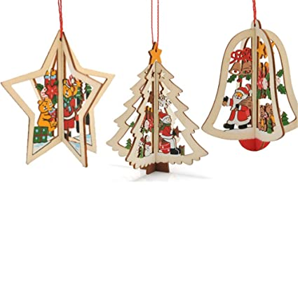 Christmas Oval Wooden Pendant Craft Xmas Tree Ornaments Home Hanging Decor DIY
