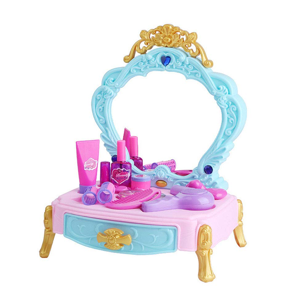 Girls Toy Dresser Vanity Beauty Set,Pretend Play Cosmetic and Dressing Table Top Set Kit with Makeup Accessories Music and Lights for Your Little Princess by PinnacleT1