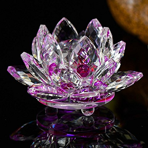 - Nisson Decor Home - 80mm Quartz Crystal Lotus Flower Crafts Glass Paperweight Ornaments Figurines Home Wedding Party Decor Gifts Souvenir