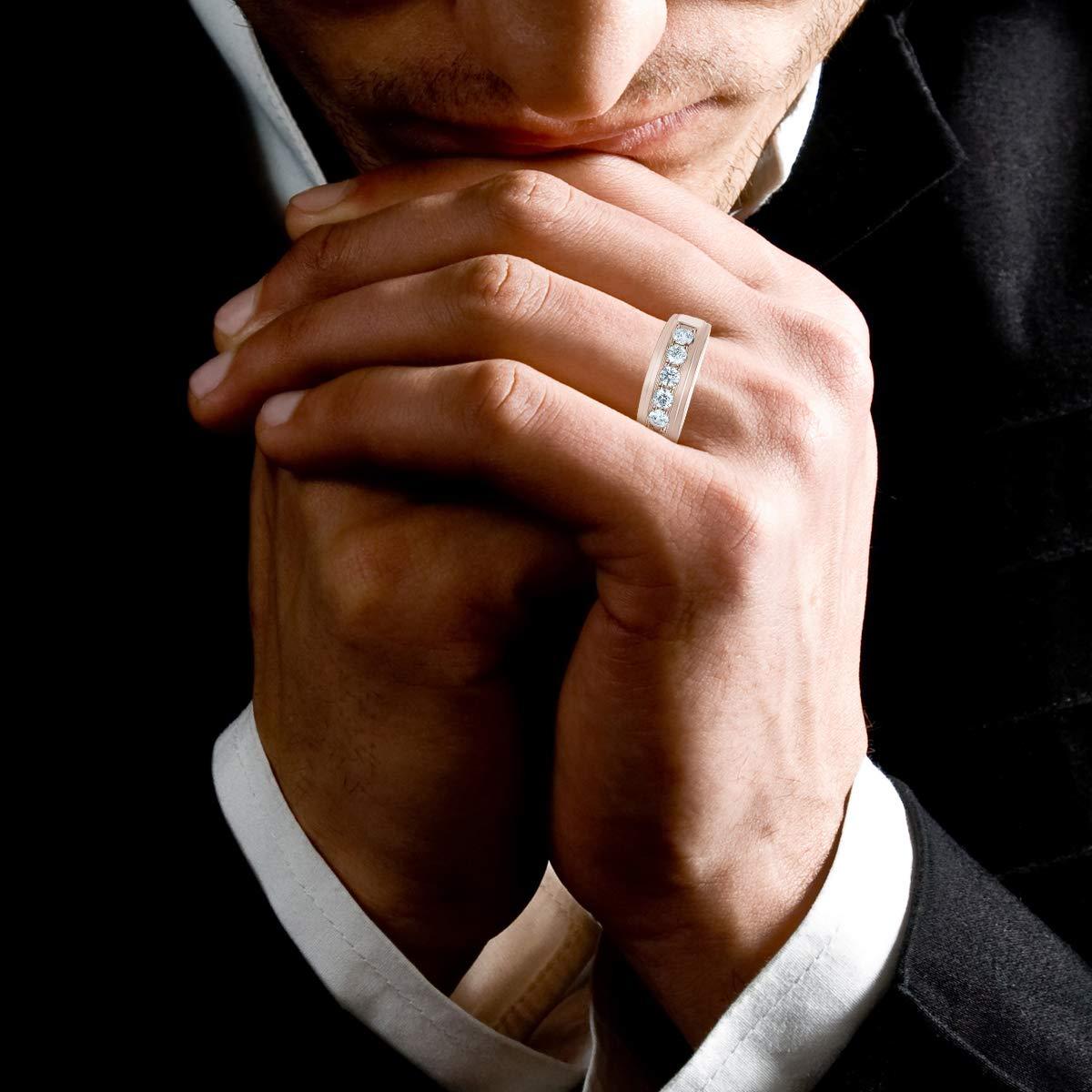 Amazon.com: Anillo de diamante para hombre de 1 ct, oro de ...