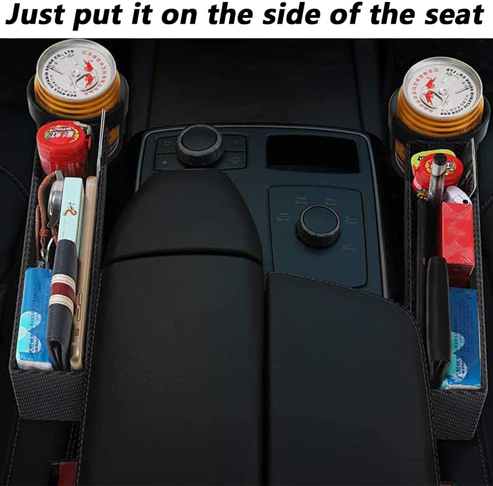 CHEPL Autositz Aufbewahrungsbox Autositz Gap Organizer wasserdichte L/ücke Aufbewahrungsbox Organizer mit Getr/änkehalter f/ür Fahrer Sitz und Beifahrer Sitz