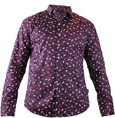 TRANKILO Camisa Morada Estampada con Sombreros en Color Morado y Blanco, Camisa con Estampados con chisteras. (S): Amazon.es: Ropa y accesorios