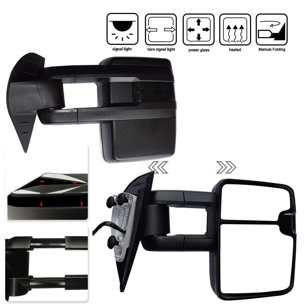TERRAIN VISION DOT Approved Black Pair Towing Mirror Power Heated Side View Mirror w/Turn Signal Arrow Lights Electric Adjusting Towing Mirror Fits 08-13 Chevy/GMC 2007 Silverado/Sierra New Body Style