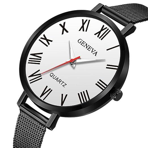 Relojes Unisexo,❤LMMVP❤ Nuevos hombres de la muñeca reloj de pulsera de moda de acero inoxidable unisex cuarzo analógico (A): Amazon.es: Relojes
