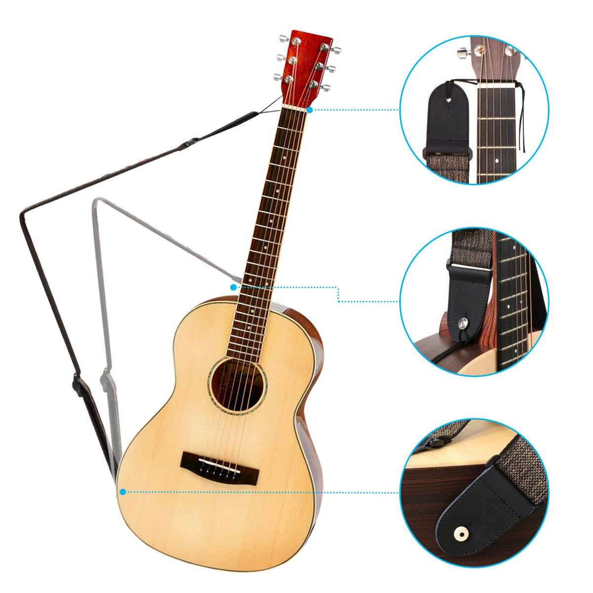 Correa de Guitarra, NASUM Ajustable para Guitarra Acústica Eléctrica Bass Ukelele para Hombres/Mujeres/Niños, con 6 Púas de Guitarra Longitud Ajustable 98 a ...