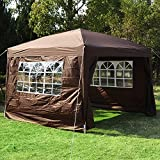 Outsunny Pop Up Water Resistant Gazebo Wedding Camping Party Tent Canopy Marquee - 3m x 3m - Coffee + Free Carry Bag + 2 walls 2 windows