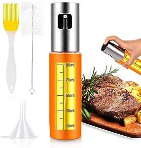 Olive Oil sprayer Mister for Cooking- Stainless Steel Glass Spray Oil Bottle Dispenser for Kitchen Air Fryer BBQ Salad Baking Roasting Grilling - 1 Pack, 3.4Oz Capacity