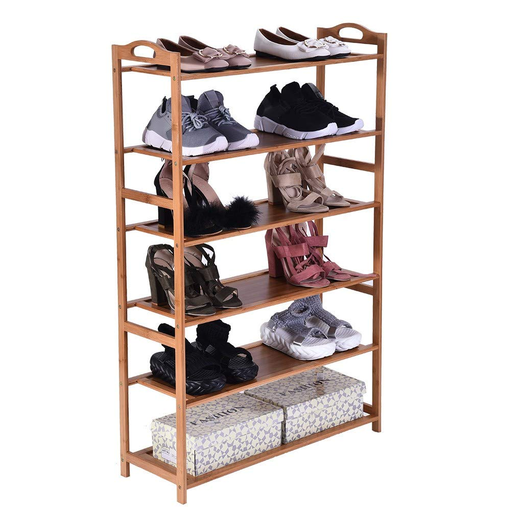 Bamboo Wood Shoe Rack 6-Tier 12-16 Pairs Entryway Standing Shoe Shelf Storage Organizer for Kitchen Living Room Closet - 27.2 x 9.8 x 41.7in(Solid Wood Panel) by Toonshare