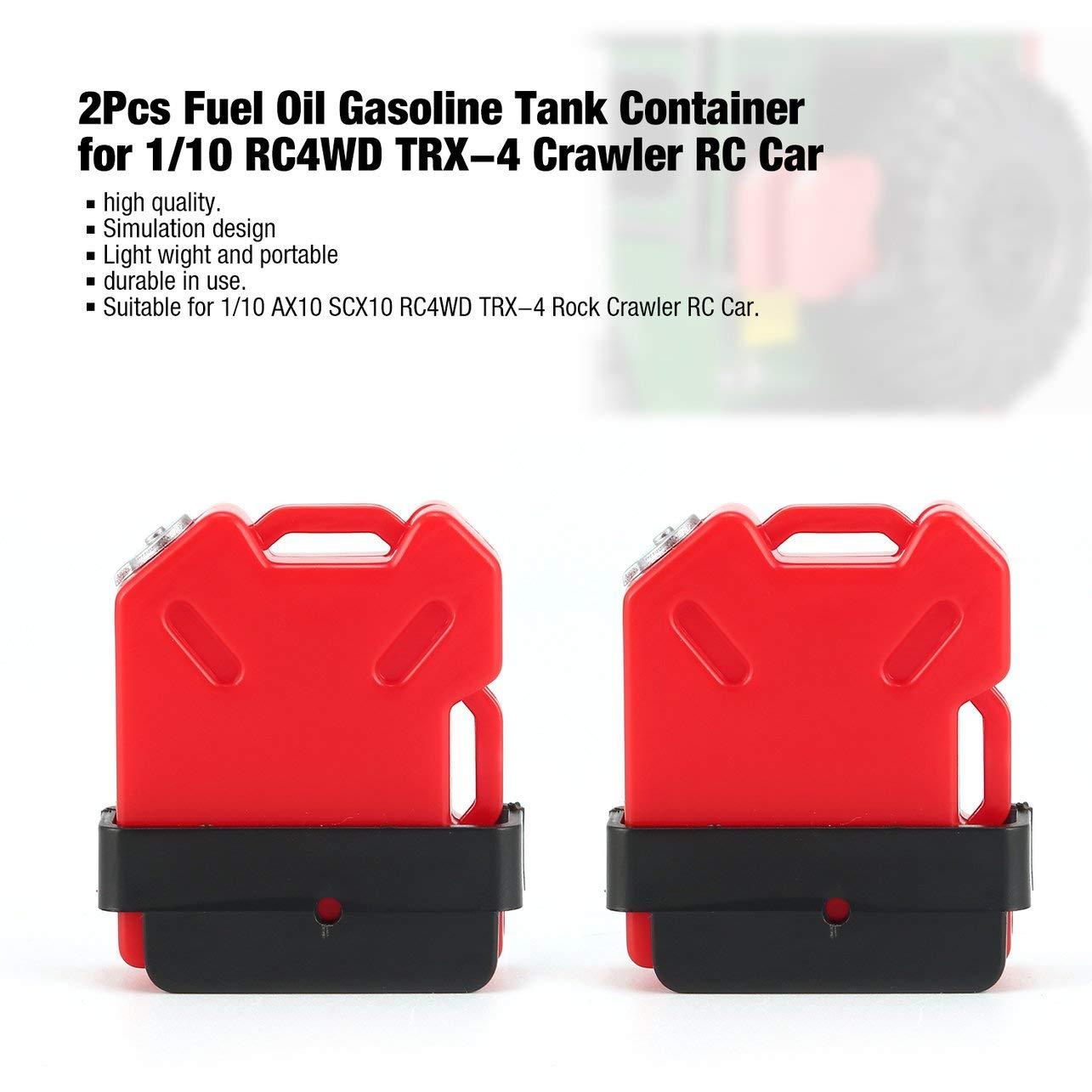 2 Unids Tanque Simulado de Gasolina de Combustible de Combustible de Combustible se Monta para 1/10 AX10 SCX10 Vehí culo Vehí culo de RC de Rueda Todo Terreno RC4WD TRX-4 (Color: Rojo) WOSOSYEYO