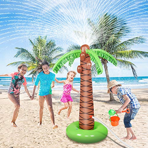 Jozo Water Toys for Kids Outdoor Inflatable Palm Tree Sprinkler, Outside Splash Toys for 2 3 4 5 6 7 8 9 Year Old Boys and Girls