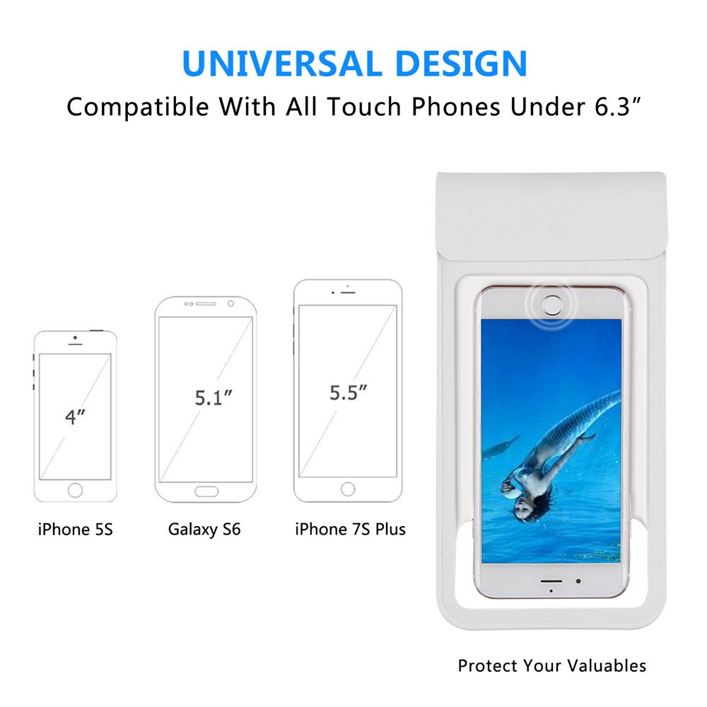 """[2018 NEW] Waterproof Case with Touch ID,Coeuspow Dry Bag Pouch with High Sensitive Fingerprint Recognition for Apple iPhone X 8 7 6 6s Plus, Galaxy etc up to 6.0"""" (white) by Coeuspow (Image #4)"""