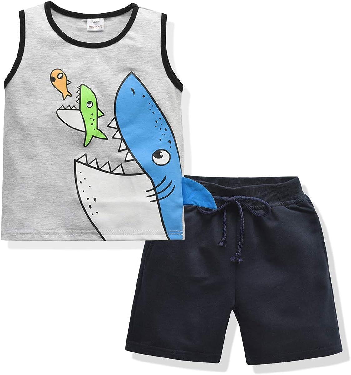 2PCS Toddler Boys Summer Outfits Cute Sharks Print Sleeveless Tank Tops T-Shirt and Shorts Clothing Sets