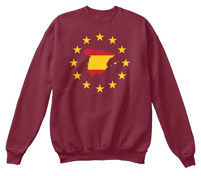 Sudadera Teespring para Hombre - L - Spain Map inside European Union EU Flag: Amazon.es: Ropa y accesorios