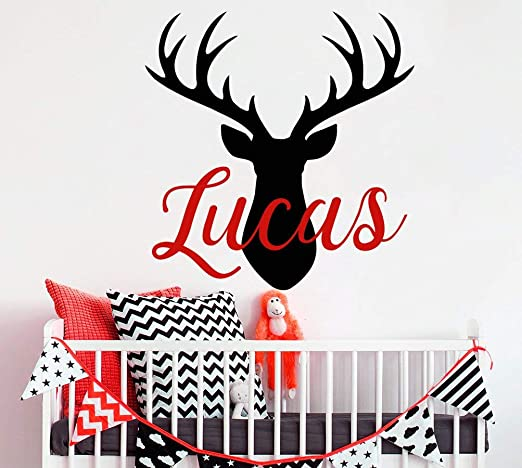Deer Antlers Rack Hunting Wall Decal /& Personalized Name Vinyl Sticker Decor