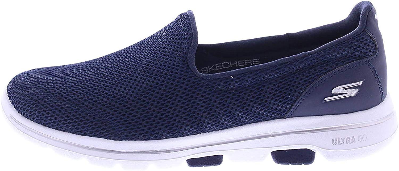 Skechers Damen Go Walk 5 Slip On Sneaker Navy Textile White Nvw
