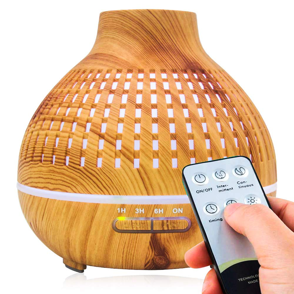 Camyse 400ML Essential Oil Diffuser, Ultrasonic Aromatherapy Vaporizer Fragrant Humidifier with Remote Control, 7 Colors Mood Light, 4 Timers, Waterless Auto-off for Home Office Room