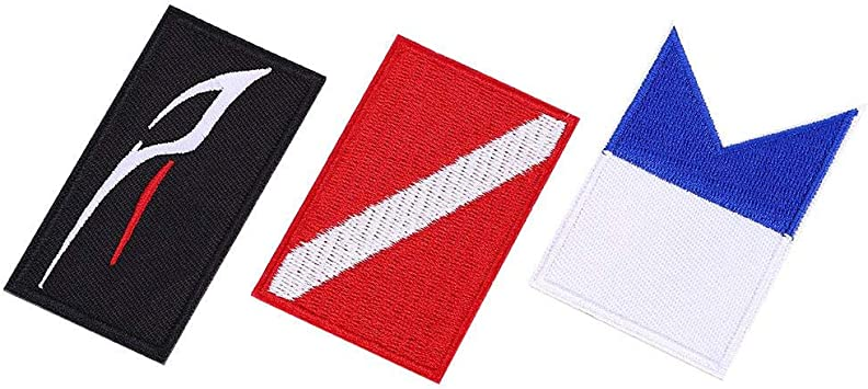 3 Pcs Scuba Diving Flag Patch Dive Velcro Patches Embroidered Diver Badge DIY Accessories for Backpack Hat Keenso Diving Patch