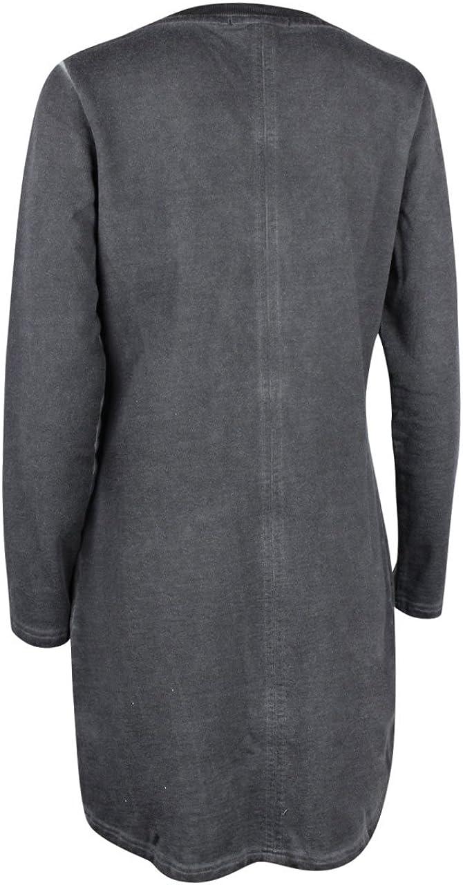 trueprodigy Casual Damen Marken Sweatjacke einfarbig Basic Oberteil Cool Stylisch Rundhals Langarm Slim Fit Sweat Jacke für Frauen Anthrazite