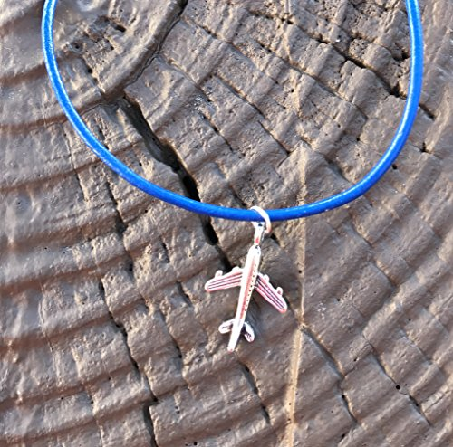 tiny-airplane-toy-charm-handmade-necklace-on-blue-leather-cord-jet-plane-pan-am-inspired-jewelry