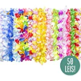 Hawaiian Leis Luau Party Supplies - 50 Hawaiian Necklace Flower Lei Assortment Pack with Tropical Lays Designs for Hawaiian Party