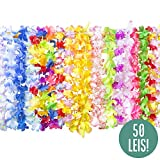 Hawaiian Leis Bulk Party Favors - 50 Hawaiian Flower Leis Bulk Pack for Luau Leis and Hawaiian Leis for Kids + Flower Leis Necklaces Party Favors