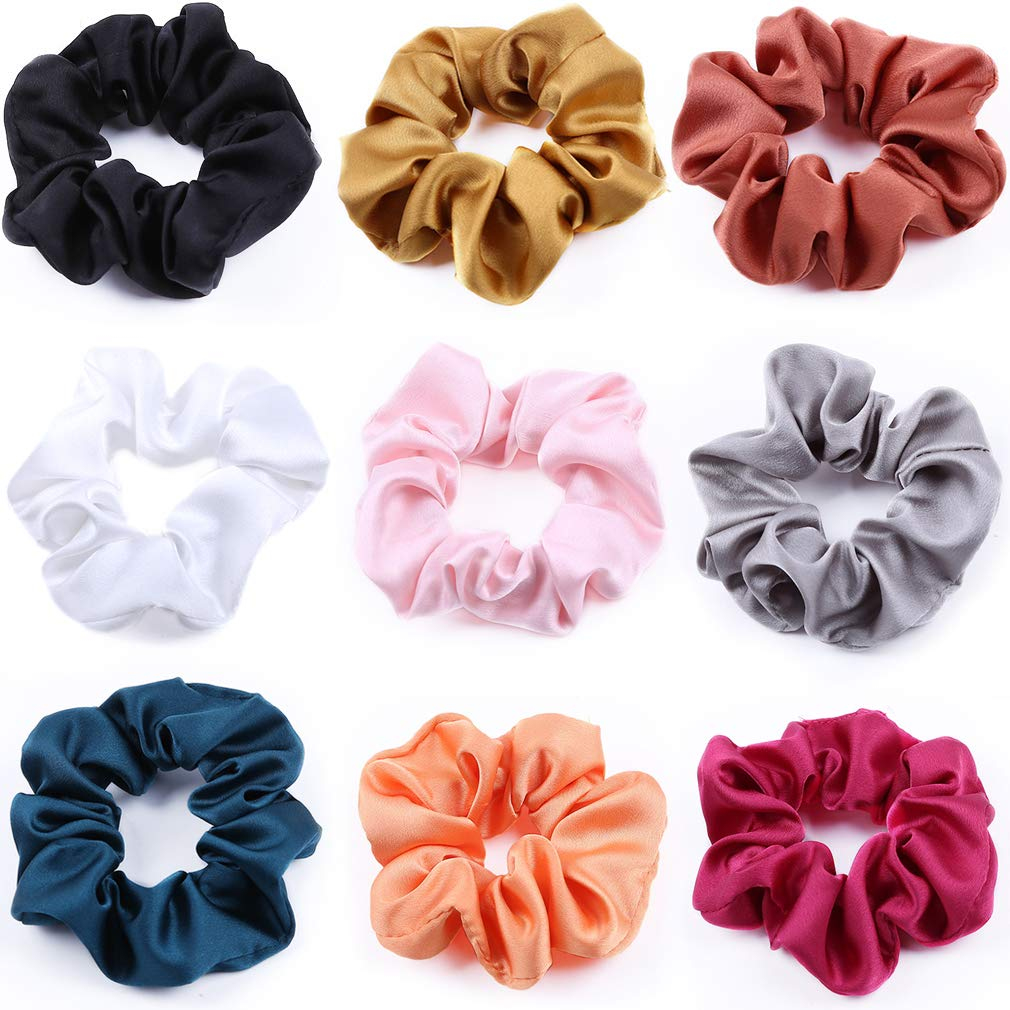 12 Pack Satin Hair Scrunchies Hair Ties Elastic Hair Bands Ropes for Women Girl