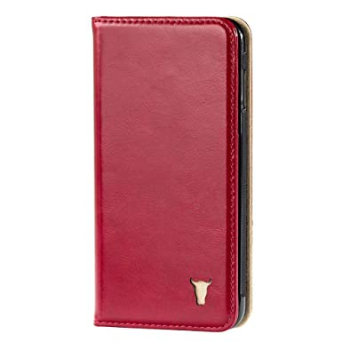 online retailer 5fc3d 56c00 TORRO Premium Leather Case compatible with Apple iPhone 8 and iPhone 7.  Premium Red Leather Case with Stand Function - Red Leather with Cream Suede  ...