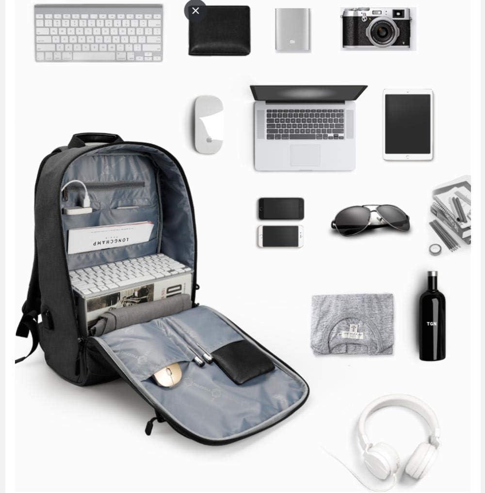 Sac à Dos de Voyage Anti-vol, Sac à Dos USB pour Ordinateur Portable de 15,6 Pouces pour Hommes, Cartable pour Filles, Fille-Noir Orange
