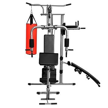 Festnight Gimnasio Multiestacion Musculación Casero con un Saco de Boxeo 210 x 175 x 227 cm