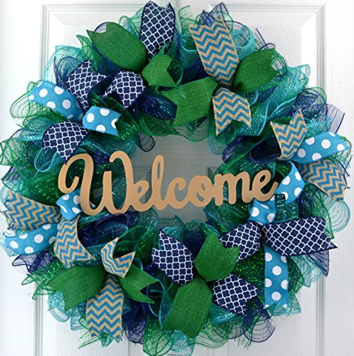 Christmas Gift Ideas | Everyday Wreath | Welcome Mesh Door Wreath | Navy Blue Kelly Green Turquoise