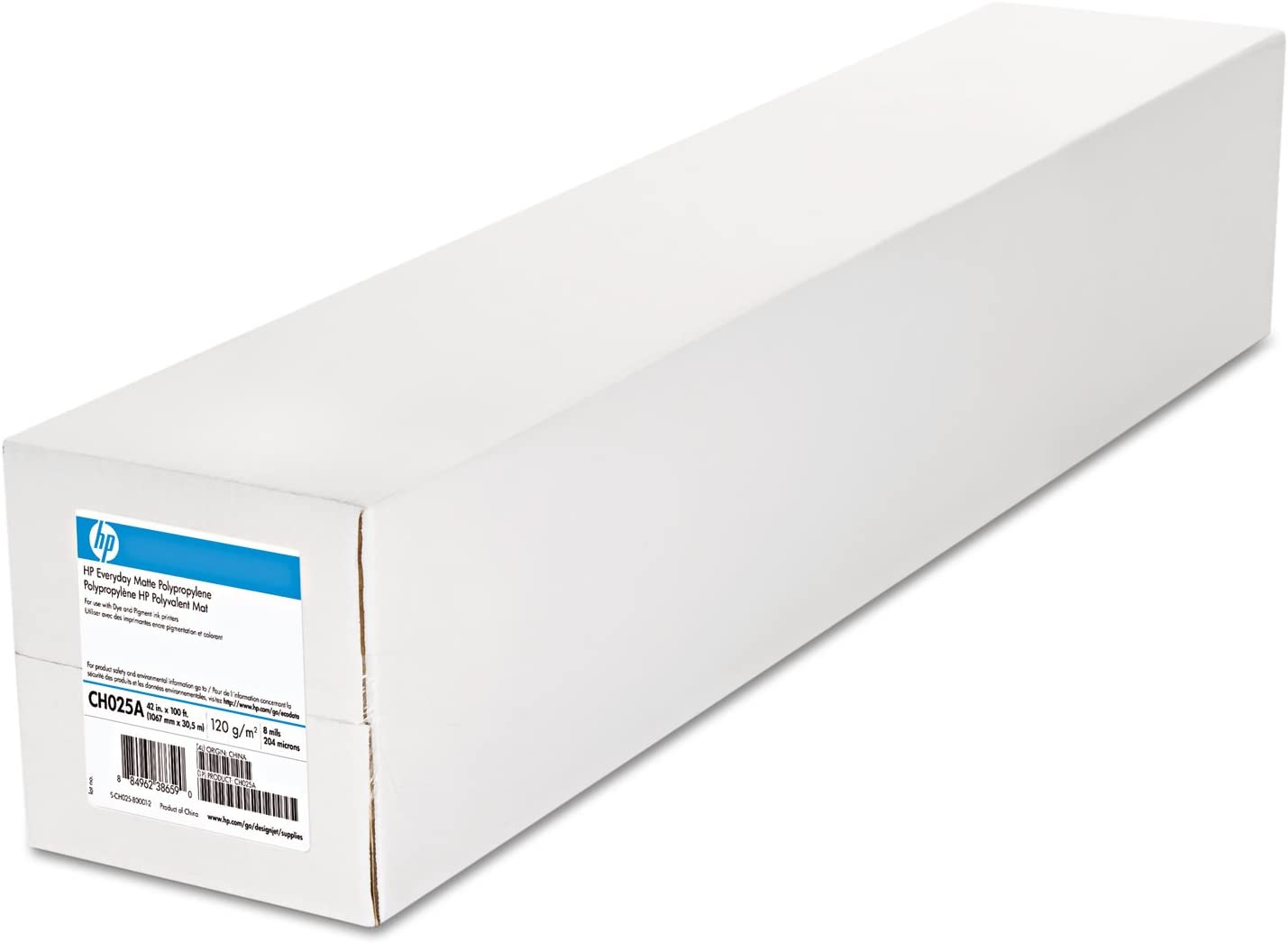 HP CH025A Everyday Matte Polypropylene Film, 8 mil, 2-Inch Core, 42-Inch x 100 ft, White, 2 Rolls