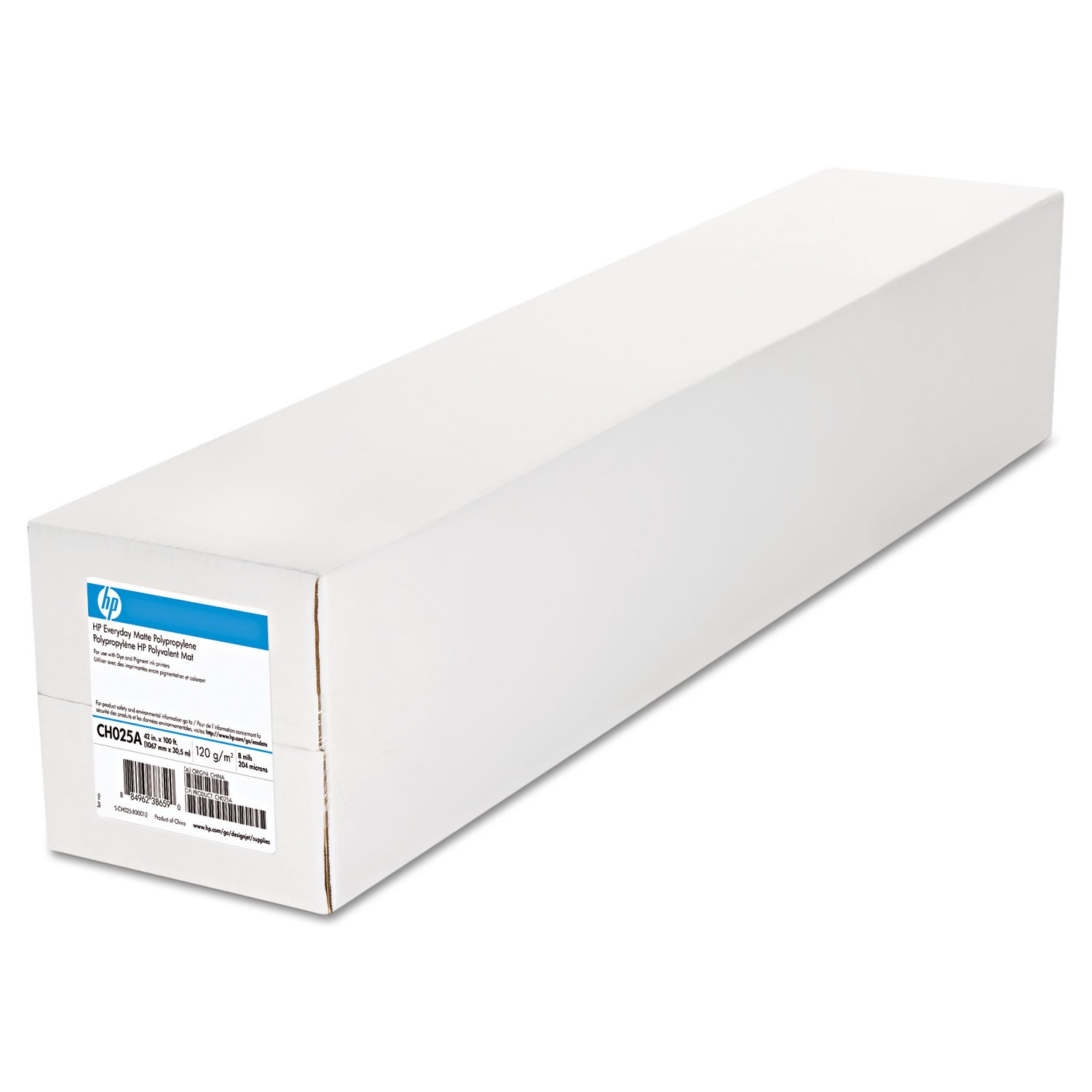 HP CH025A Everyday Matte Polypropylene Roll Film, 120 g/m2, 2 in. Core, 42 in. x 100 ft, White (2 rolls/carton)