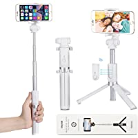 Selfie Stick Tripod with Bluetooth Remote - VANZAVANZU New 360° Rotation Phone Holder with Foldable Tripod for iPhone 6s Plus 7 Plus Samsung s7 Edge, Podcast, Live Broadcasting, Facetime (White)
