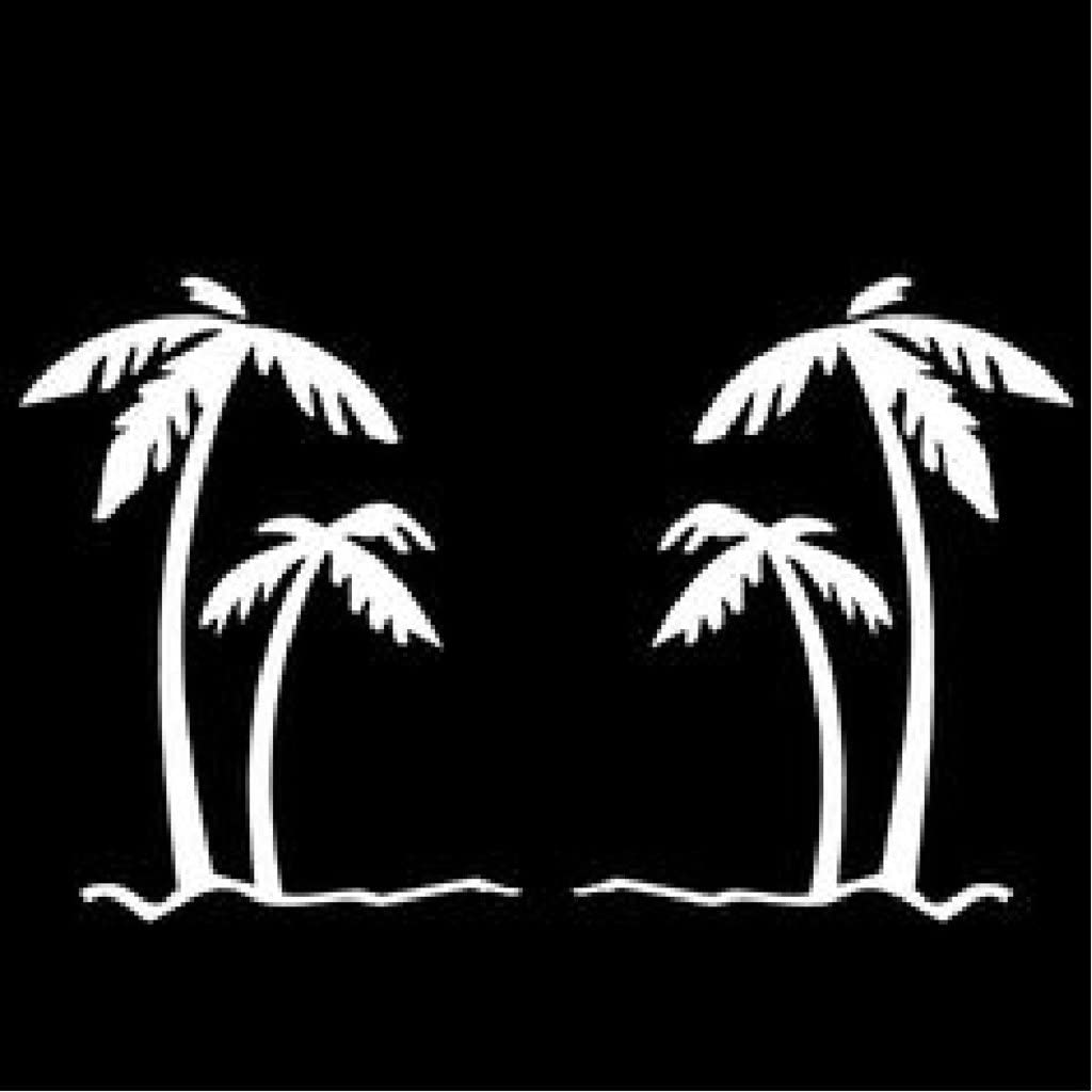 Palm Trees Vinyl Decal Sticker | Cars Trucks Vans Walls Laptops Cups | White | 5.5 inches | KCD1492