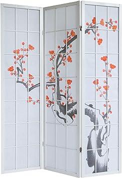 PEGANE Biombo de Madera con Flor de Cerezo Blanco de 3 Paneles ...