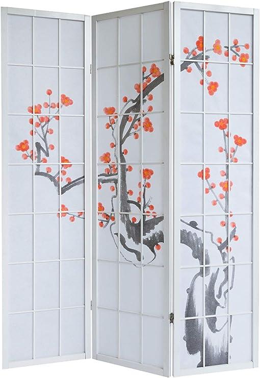 PEGANE Biombo de Madera con Flor de Cerezo Blanco de 3 Paneles: Amazon.es: Hogar