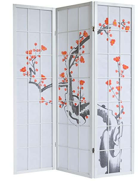 PEGANE Paravento in legno con fiore di ciliegia bianca di 3 pannelli ...