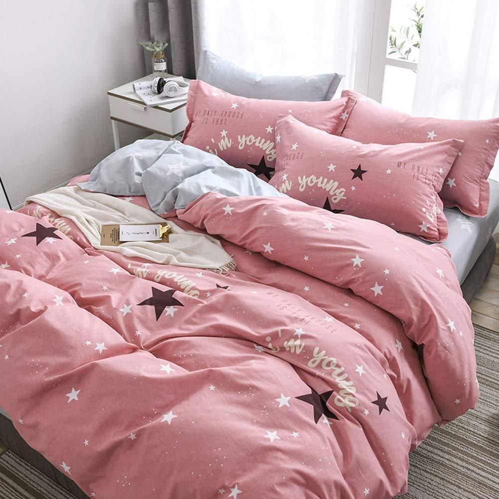 寝具4ピースシートセットプレミアムソフトベッドシートセット、通気性、羽毛布団カバーセット-1フィットシート、1ベッドシートと2枕カバー24パターン (パターン : 22, サイズ さいず : Queen) B07S9ZW1MK
