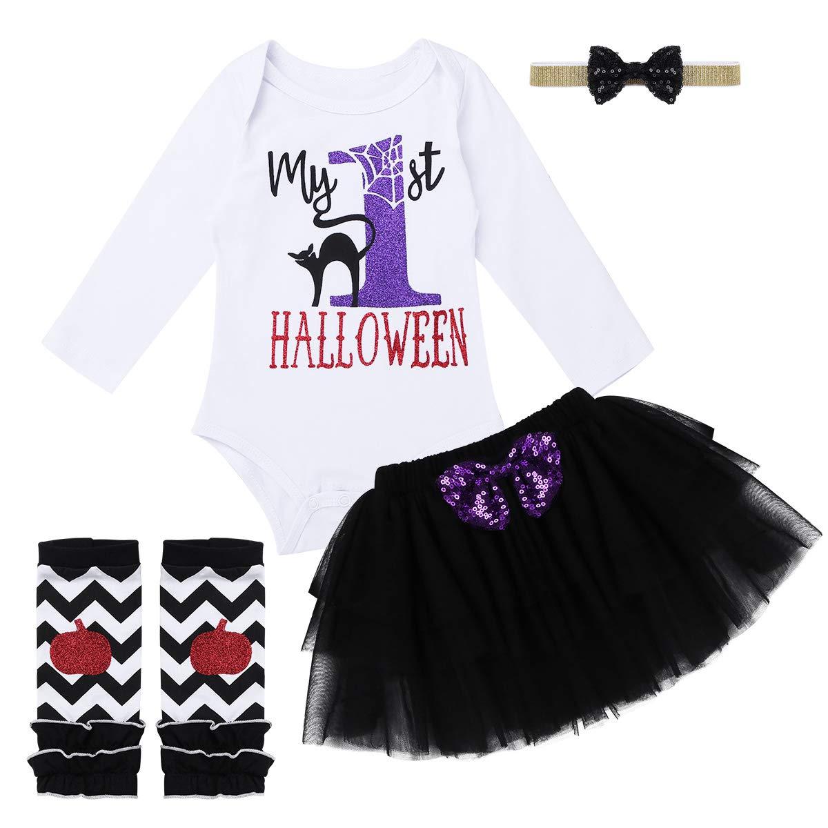 FEESHOW Baby Girls My 1st Halloween Outfit Costumes Romper Bodysuit Tutu Skirt Headband Set Black 5 pcs Set 0-3 Months