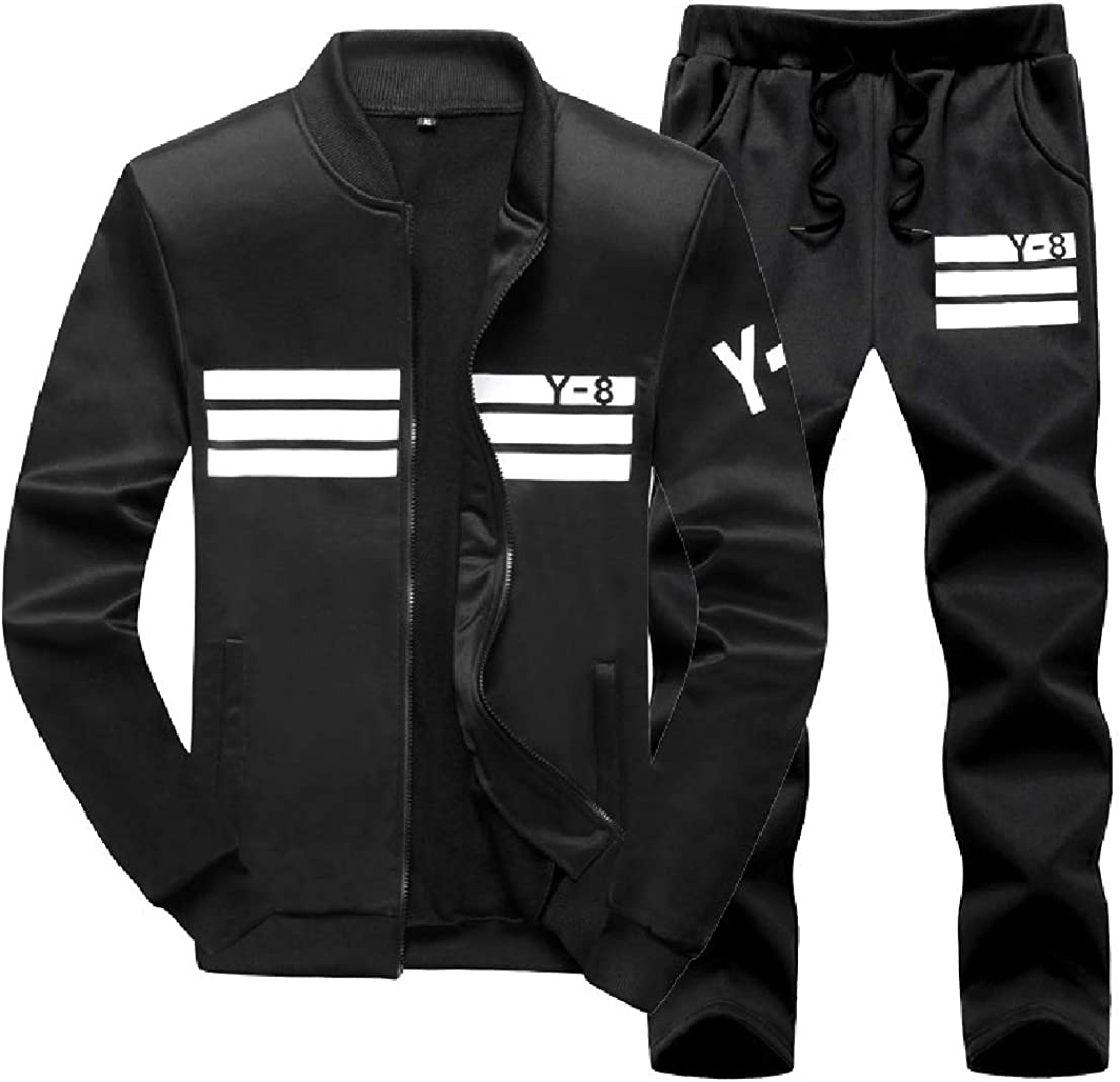 BAYY Mens Plus Size Printing Zipper Pocket 2 Piece Sport Sweat Suit Set