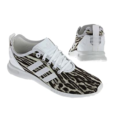 d2204ac86 adidas Originals ZX Flux Women s ADV Smooth White Brown Mesh Running  Trainers  Amazon.co.uk  Shoes   Bags