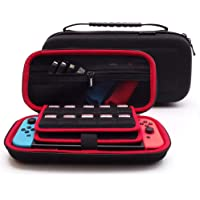 Soyan Hard Carrying Case for Nintendo Switch, Build-in 20 Game Card Holders and Secure Strap Red