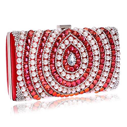 Banquet Red Fashion Luxury Pearl Clutch Bag Evening Bag Bag GROSSARTIG Lady Bride Crossbody Dress Oqd4vO