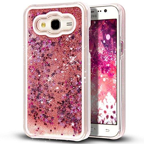 Tkl Professional Series - TKL ( TM ) Galaxy Grand Prime [Liquid] [Glitter] Case,Creative Design Flowing Liquid Floating Luxury Bling Glitter Shining Dynamic Swimming Sparkle Stars Hard Case for Galaxy Grand Prime G530F(Pink)