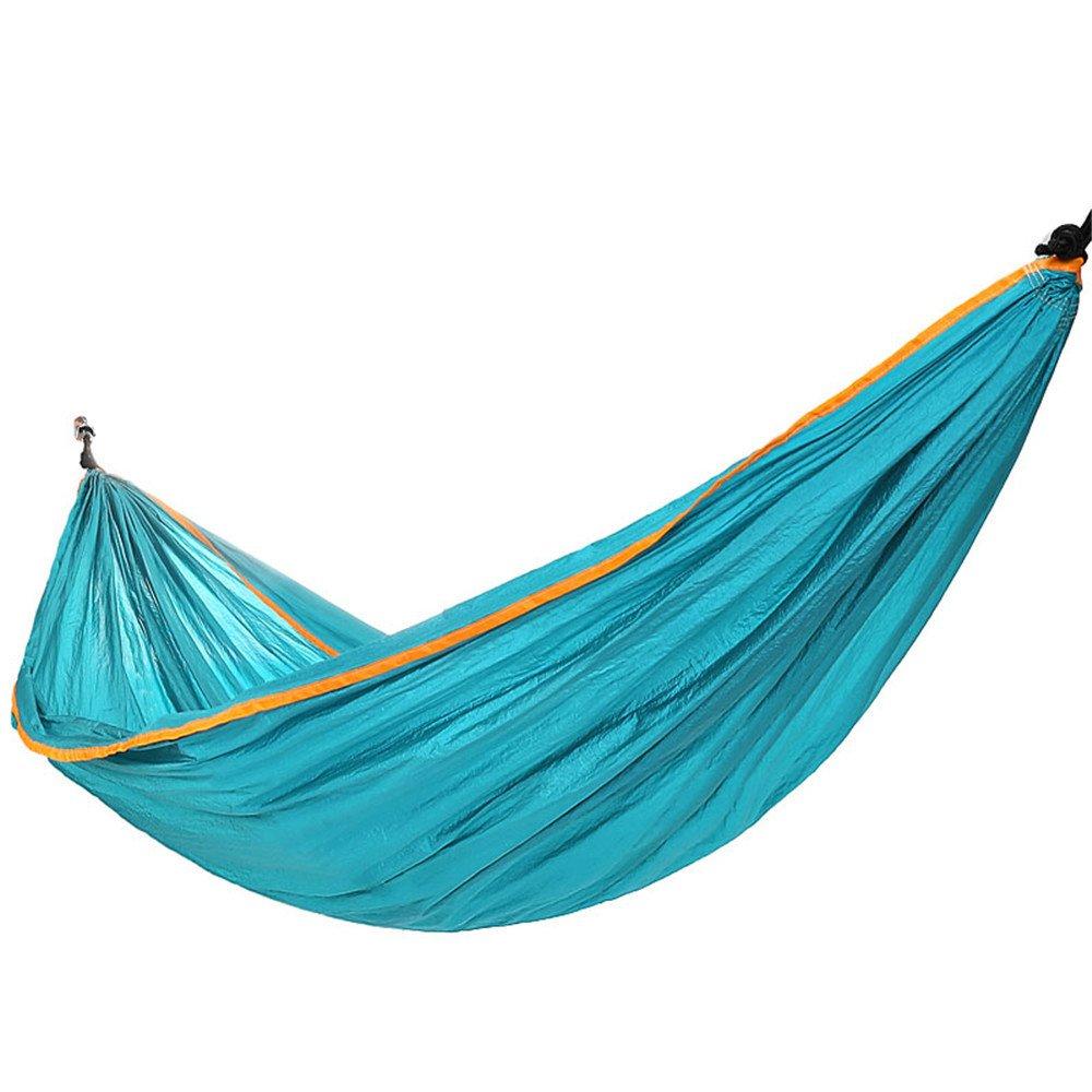 RFVBNM Camping Hängematte blau Outdoor Doppel Hängematte Freizeit Hängematte tragbare Nylon Hängematte 260  140cm