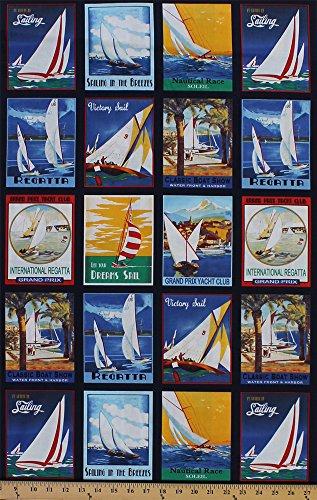 Cotton Sailboat Racing Postcards Sailing Sailboats Regatta Boat Races Nautical Squares Transportation Sail Away Cotton Fabric Print by the Yard (37375)