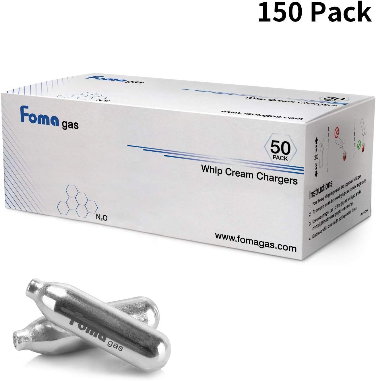 150 Packs for Whipped Cream Dispenser FOMAGAS Professional Whipped Cream Chargers N2O Cream Chargers