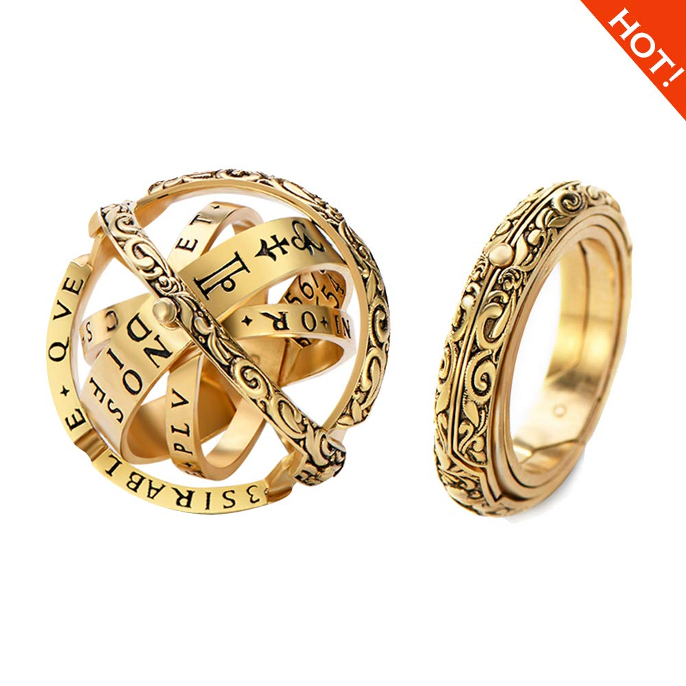 Luxury Copper Gold Plated /925 Silver Astronomical Ring That Folds Out to an Astronomical Sphere | Exquisite Workmanship,with Good Packaging &Chain Close is Love,Open is The World,Best Gift for Lover by QIHONG